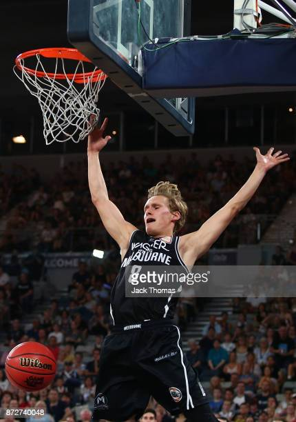 Kyle Adnam of Melbourne United misses a layup during the round six NBL match between Melbourne United and the Sydney Kings at Hisense Arena on...