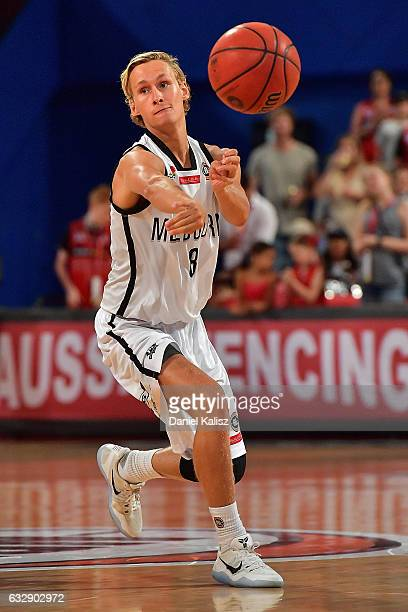 Kyle Adnam of Melbourne United passes the ball during the round 17 NBL match between the Perth Wildcats and Melbourne United at Perth Arena on...