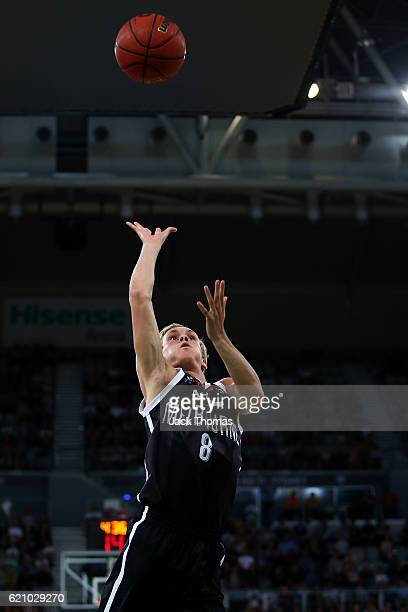 Kyle Adnam of Melbourne United shoots the ball during the round five NBL match between Melbourne United and the New Zealand Breakers on November 4...