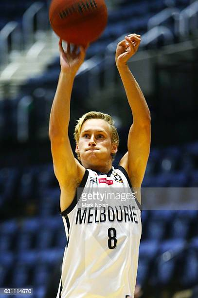 Kyle Adnam of Melbourne United warms up before the round four NBL match between the Illawarra Hawks and Melbourne United at WIN Entertainment Centre...