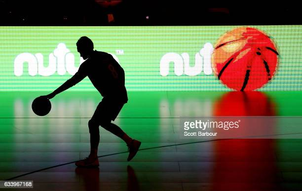 Kyle Adnam of Melbourne United warms up during the round 18 NBL match between Melbourne United and the Illawarra Hawks at Hisense Arena on February 6...