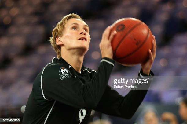 Kyle Adnam of Melbourne warms up prior to the round seven NBL match between Melbourne and Perth on November 19 2017 in Melbourne Australia