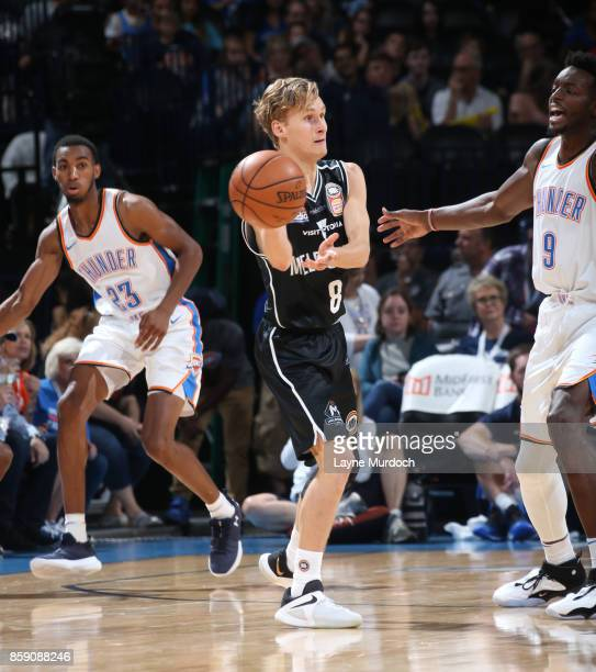 Kyle Adnam of the Melbourne United passes the ball against the Oklahoma City Thunder during the preseason game on October 8 2017 at Chesapeake Energy...