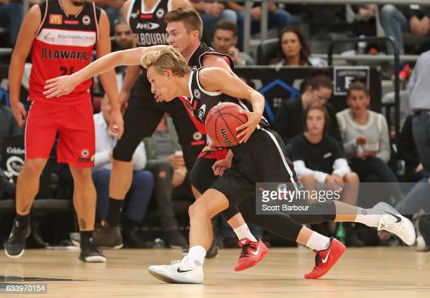 Kyle Adnam of United controls the ball during the round 18 NBL match between Melbourne United and the Illawarra Hawks at Hisense Arena on February 6...