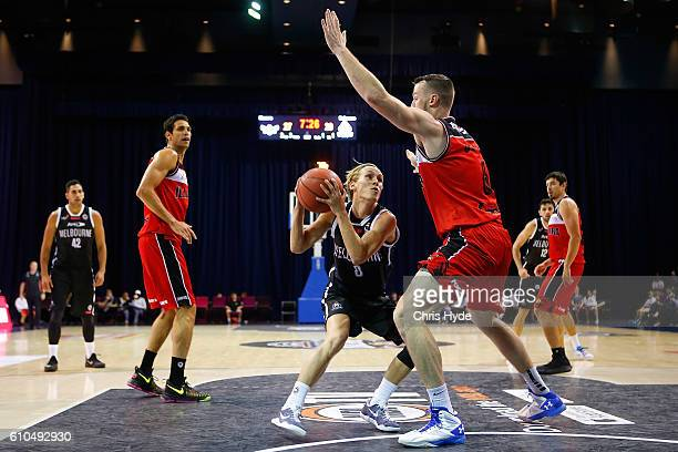 Kyle Adnam of United drives the ball during the Australian Basketball Challenge match between Illawarra Hawks and Melbourne United at Brisbane...