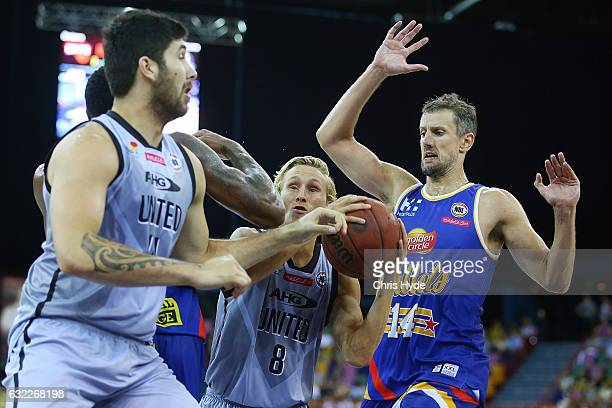 Kyle Adnam of United looks to pass during the round 16 NBL match between the Brisbane Bullets and Melbourne united at the Brisbane Convention Centre...