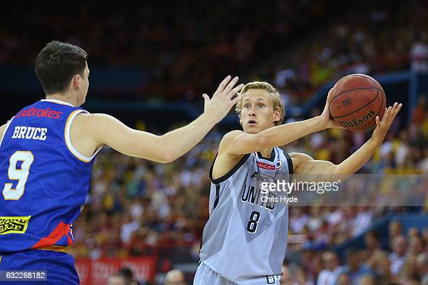 Kyle Adnam of United passes during the round 16 NBL match between the Brisbane Bullets and Melbourne united at the Brisbane Convention Centre on...