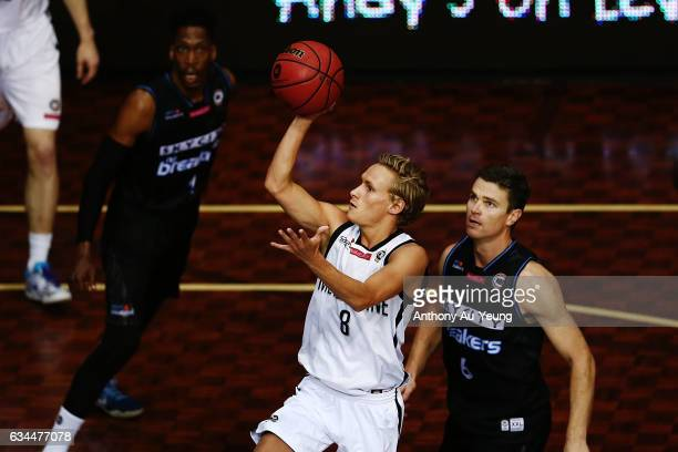 Kyle Adnam of United puts up a shot during the round 19 NBL match between the New Zealand Breakers and Melbourne United at North Shore Events Centre...