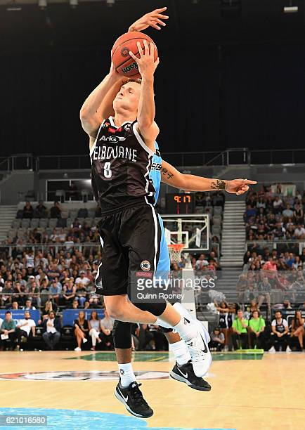 Kyle Adnam of United shoots during the round five NBL match between Melbourne United and the New Zealand Breakers on November 4 2016 in Melbourne...