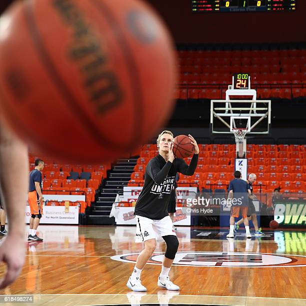 Kyle Adnam of United shoots during warm up before the round four NBL match between the Cairns Taipans and Melbourne United at Cairns Convention...