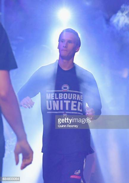 Kyle Adnam of United walks out onto the field during the round 19 NBL match between Melbourne United and the Perth Wildcats at Hisense Arena on...