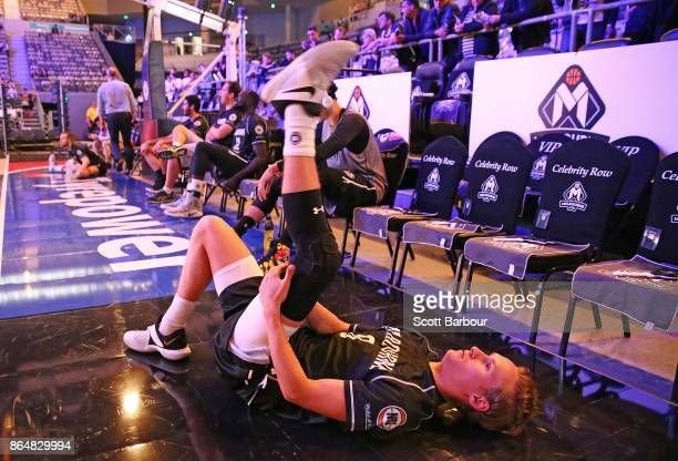 Kyle Adnam of United warms up before the round three NBL match between Melbourne United and the New Zealand Breakers at Hisense Arena on October 22...