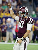 Kyle Allen of the Texas AM Aggies celebates after a touchdown in the second half of their game against the Arizona State Sun Devils during the...