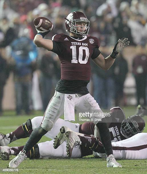 Kyle Allen of the Texas AM Aggies in the pocket against the Missouri Tigers in the first half in a NCAA football game on November 15 2014 at Kyle...