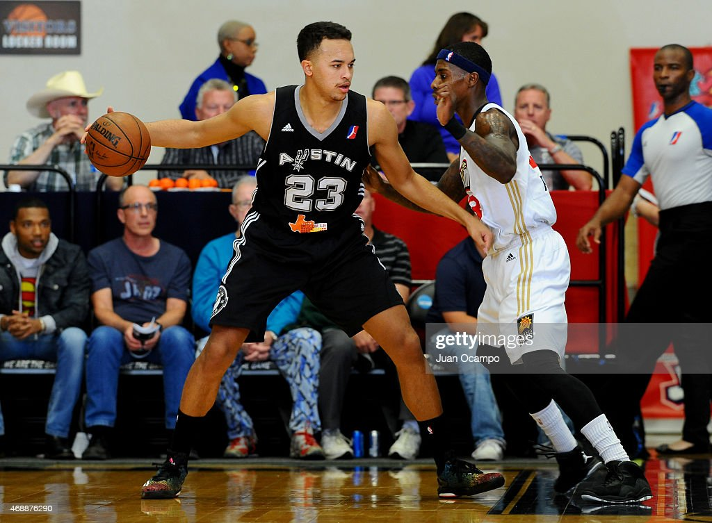 <a gi-track='captionPersonalityLinkClicked' href=/galleries/search?phrase=Kyle+Anderson+-+Basketball+Player&family=editorial&specificpeople=10585265 ng-click='$event.stopPropagation()'>Kyle Anderson</a> #23 of the Austin Spurs posts up against <a gi-track='captionPersonalityLinkClicked' href=/galleries/search?phrase=Casey+Prather&family=editorial&specificpeople=7358715 ng-click='$event.stopPropagation()'>Casey Prather</a> #23 of the Bakersfield Jam during Game One of the NBA D-League Western Conference Semifinals on April 7, 2015 at Dignity Health Event Center in Bakersfield, California.