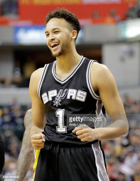 Kyle Anderson of the San Antonio Spurs celebrates during the game against the Indiana Pacers at Bankers Life Fieldhouse on February 13 2017 in...