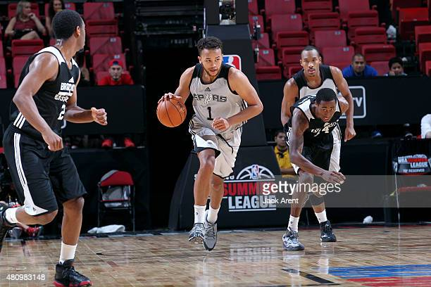Kyle Anderson of the San Antonio Spurs drives against the Brooklyn Nets during the 2015 NBA Las Vegas Summer League game on July 16 2015 at Thomas...