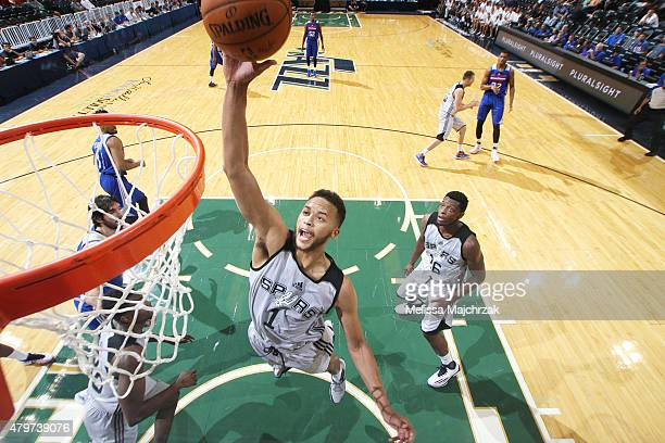 Kyle Anderson of the San Antonio Spurs goes up for a shot against the Philadelphia 76ers during the NBA Summer League on July 6 2015 at Energy...
