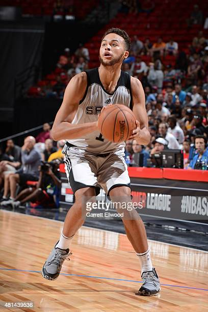 Kyle Anderson of the San Antonio Spurs handles the ball against the Phoenix Suns during the Las Vegas Summer League Championship on July 20 2015 at...