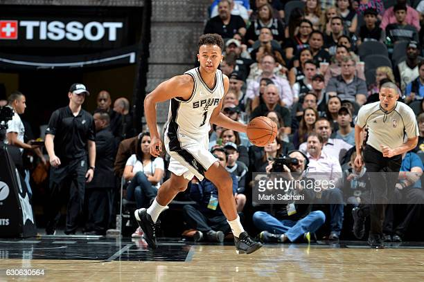Kyle Anderson of the San Antonio Spurs handles the ball during the game against the Phoenix Suns on December 28 2016 at the ATT Center in San Antonio...