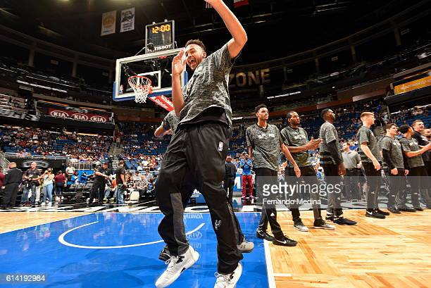 Kyle Anderson of the San Antonio Spurs is introduced before the game against the Orlando Magic on October 12 2016 at the Amway Center in Orlando...