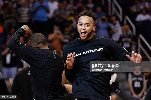 Kyle Anderson of the San Antonio Spurs is introduced before the NBA game against the Phoenix Suns at Talking Stick Resort Arena on February 21 2016...