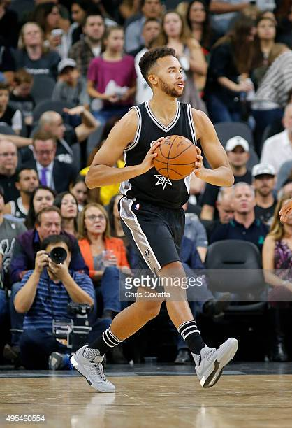 Kyle Anderson of the San Antonio Spurs passes the ball against the Brooklyn Nets at the ATT Center on October 30 2015 in San Antonio Texas NOTE TO...