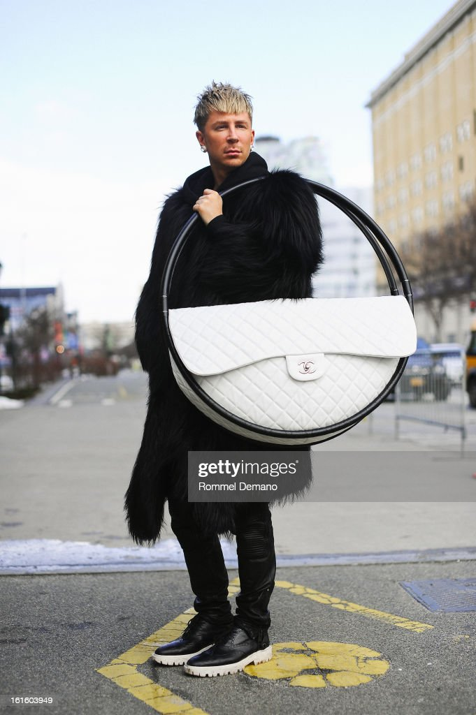 Kyle Anderson seen outside the Diesel Black Gold show wearing Michael Kors fur, Chanel bag and Burberry shoes and Micha at Streets of Manhattan on February 12, 2013 in New York City.