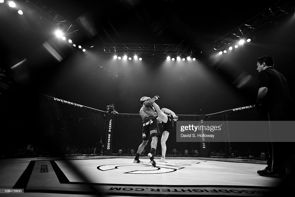 Kyle Baker right fights Levon Maynard at UWC 5 Man 'O' War Extreme Cage Fighting at the George Mason University Patriot Center in Fairfax Virginia on...