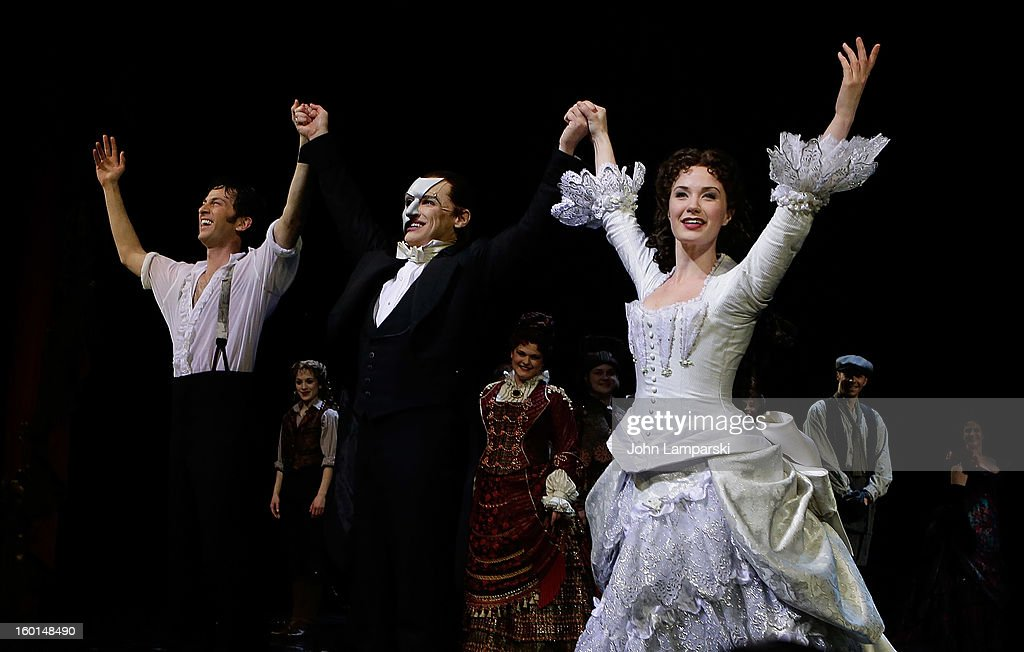 Kyle Barisich, Hugh Panaro and Sierra Boggess perform at 'The Phantom Of The Opera' Broadway 25th Anniversary at Majestic Theatre on January 26, 2013 in New York City.