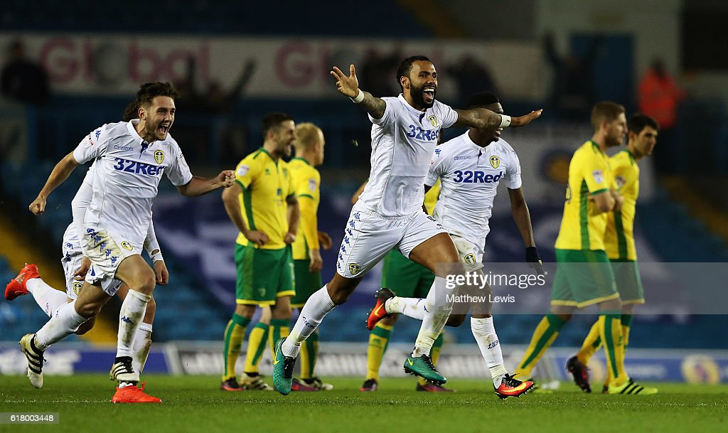 Kyle Bartley (c) of Leeds United celebrates his teams win during the EFL Cup Fourth Round match between Leeds United and Norwich City at Elland Road on October 25, 2016 in Leeds, England.