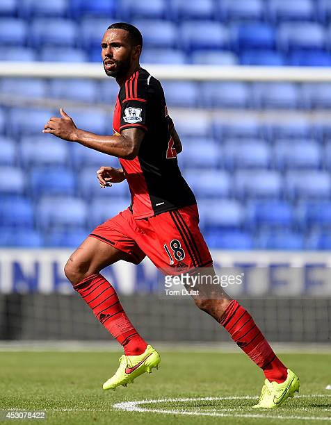 Kyle Bartley of Swansea City in action during a pre season friendly match between Reading and Swansea City at The Madejski Stadium on August 02 2014...