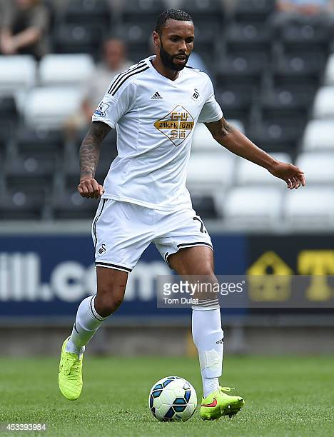 Kyle Bartley of Swansea City in action during a pre season friendly match between Swansea City and Villarreal at Liberty Stadium on August 09 2014 in...
