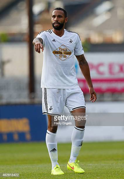 Kyle Bartley of Swansea City in action during the pre season friendly match between Exeter City and Swansea City at St James Park on July 29 2014 in...