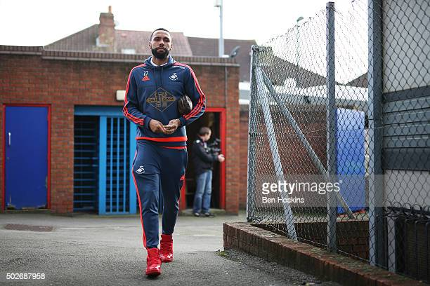 Kyle Bartley of Swansea City is seen on arrival at the stadium prior to the Barclays Premier League match between Crystal Palace and Swansea City at...