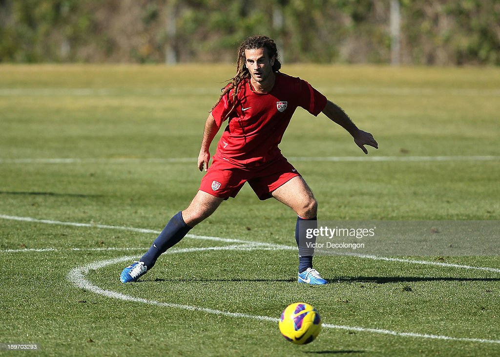 <a gi-track='captionPersonalityLinkClicked' href=/galleries/search?phrase=Kyle+Beckerman&family=editorial&specificpeople=578059 ng-click='$event.stopPropagation()'>Kyle Beckerman</a> defends the play during the U.S. Men's Soccer Team training session at the Home Depot Center on January 17, 2013 in Carson, California.