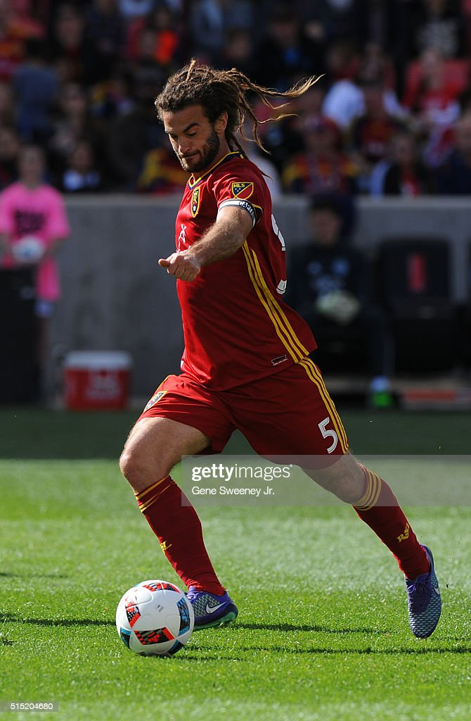 Kyle Beckerman #5 of Real Salt Lake directs the ball in the first half of their 2-1 win over Seattle Sounders FC at Rio Tinto Stadium on March 12, 2016 in Sandy, Utah.