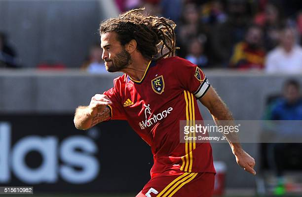 Kyle Beckerman of Real Salt Lake looks down field after his kick in the game against Seattle Sounders FC at Rio Tinto Stadium on March 12 2016 in...