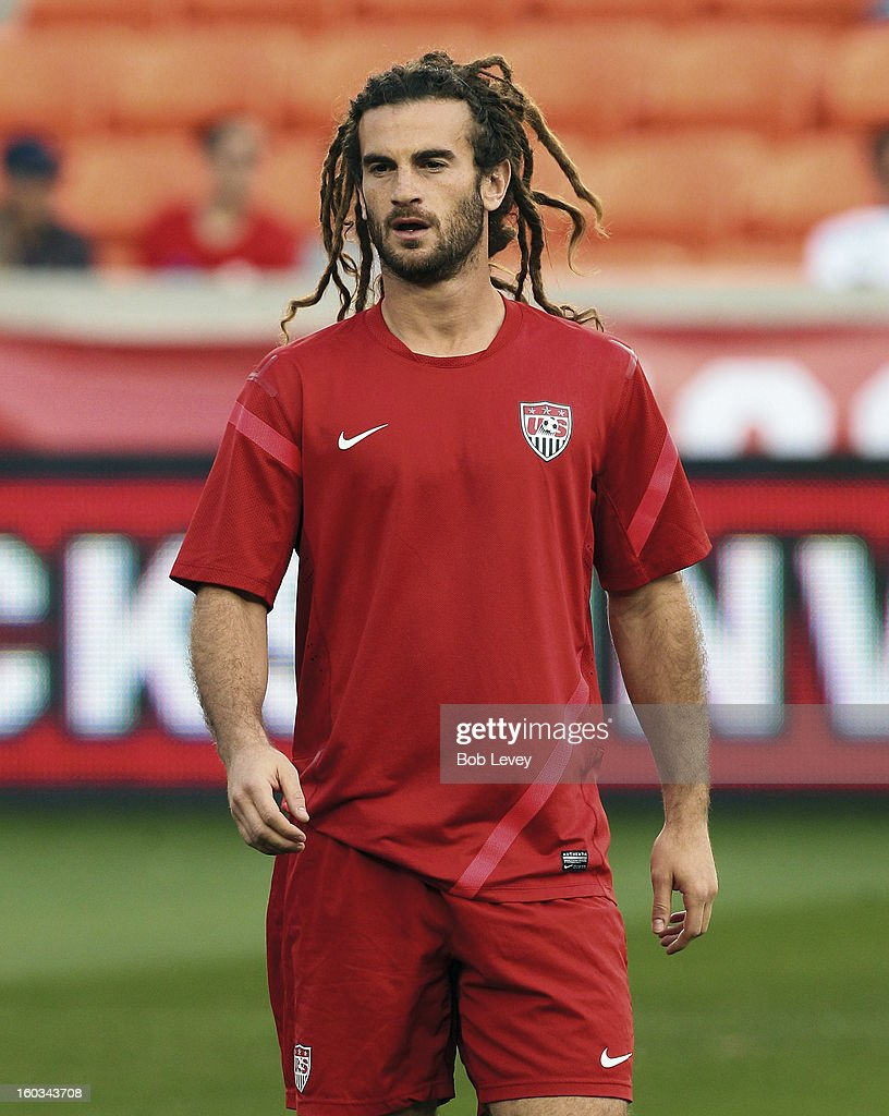 Kyle Beckerman of Real Salt Lake practices during a training session for the U.S. Men's National Team at BBVA Compass Stadium on January 28, 2013 in Houston, Texas.
