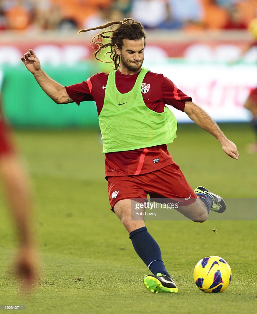 <a gi-track='captionPersonalityLinkClicked' href=/galleries/search?phrase=Kyle+Beckerman&family=editorial&specificpeople=578059 ng-click='$event.stopPropagation()'>Kyle Beckerman</a> of Real Salt Lake practices during a training session for the U.S. Men's National Team at BBVA Compass Stadium on January 28, 2013 in Houston, Texas.