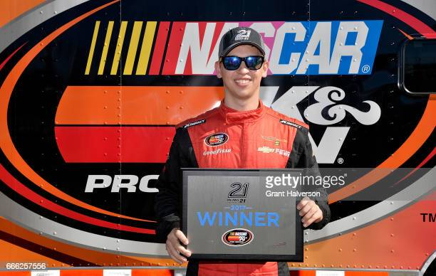 Kyle Benjamin driver of the MDM Motorsports Toyota wins the pole with the fastest qualifying lap during the NASCAR KN Pro Series East Kevin Whitaker...
