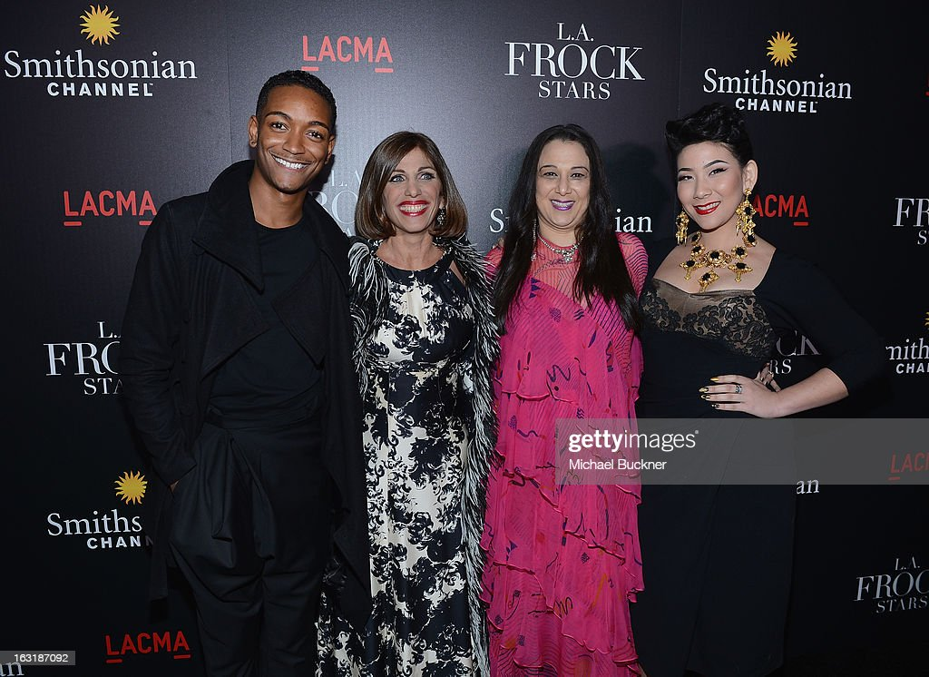Kyle Blackmon, Doris Raymond, Sarah Bergman and Shelly Lyn Erdmann arrive at the premiere for the Smithsonian Channel's new original series 'L.A. Frock Stars' at LACMA on March 5, 2013 in Los Angeles, California.