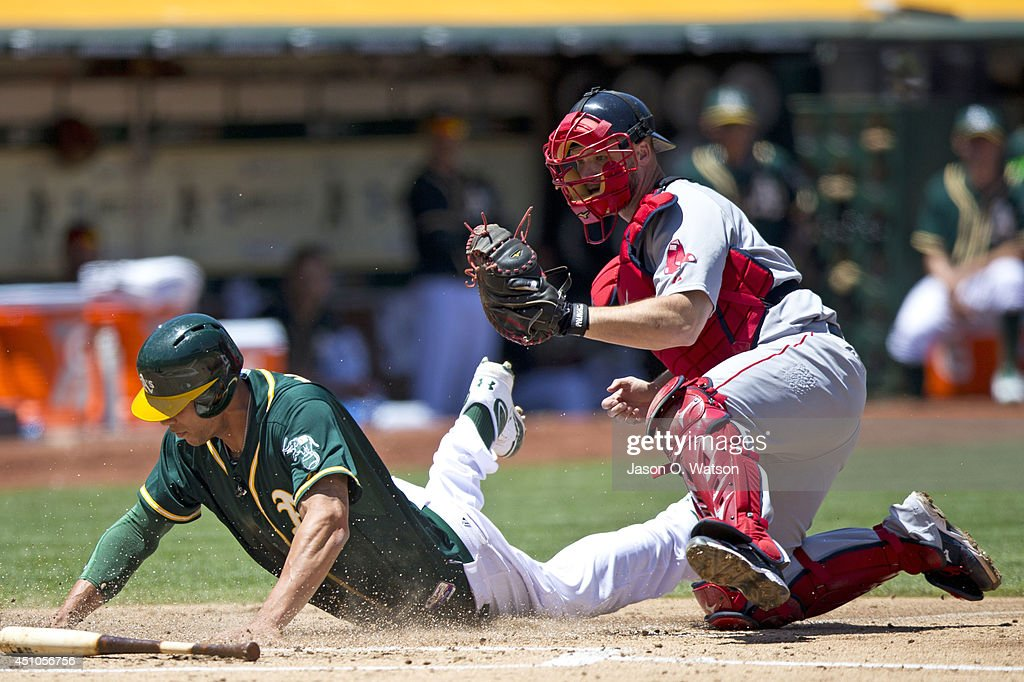 <a gi-track='captionPersonalityLinkClicked' href=/galleries/search?phrase=Kyle+Blanks&family=editorial&specificpeople=4901863 ng-click='$event.stopPropagation()'>Kyle Blanks</a> #88 of the Oakland Athletics is tagged out at home plate by <a gi-track='captionPersonalityLinkClicked' href=/galleries/search?phrase=David+Ross&family=editorial&specificpeople=210843 ng-click='$event.stopPropagation()'>David Ross</a> #3 of the Boston Red Sox during the second inning at O.co Coliseum on June 22, 2014 in Oakland, California.
