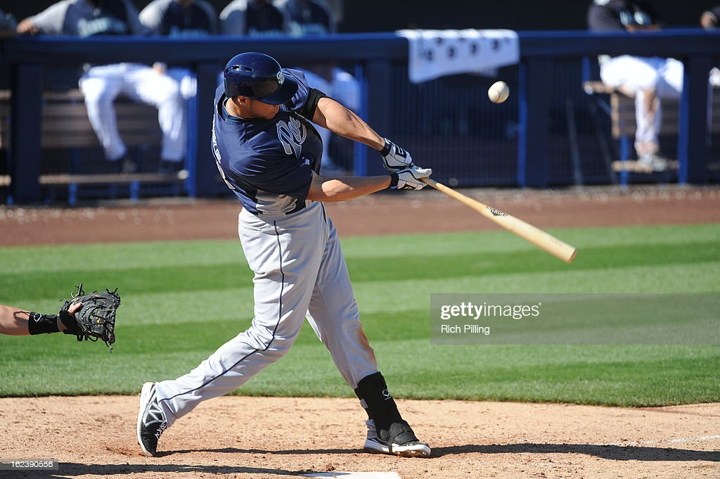 <a gi-track='captionPersonalityLinkClicked' href=/galleries/search?phrase=Kyle+Blanks&family=editorial&specificpeople=4901863 ng-click='$event.stopPropagation()'>Kyle Blanks</a> #88 of the San Diego Padres bats during the game against the Seattle Mariners on Friday, February 22, 2013 at the Peoria Sports Complex in Peoria, Arizona. The Padres defeated the Mariners 9-3.