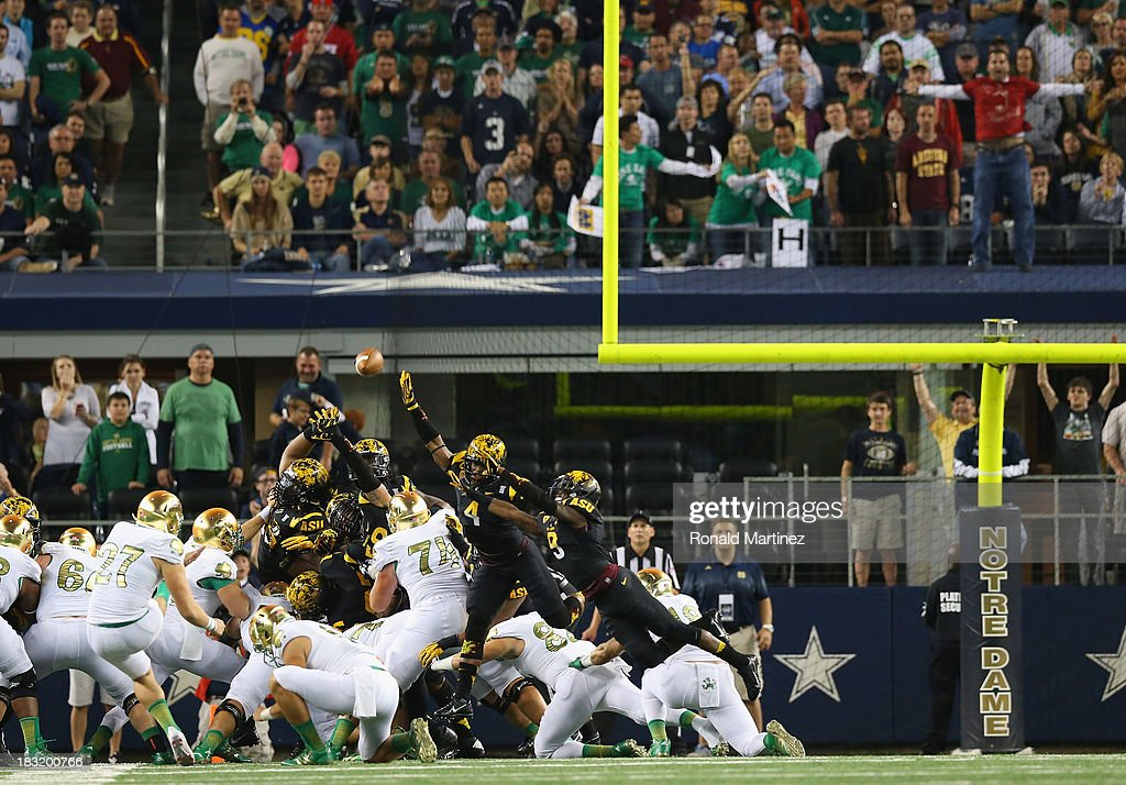 Kyle Brindza #27 of the Notre Dame Fighting Irish makes a field goal against the Arizona State Sun Devils in the fourth quarter at Cowboys Stadium on October 5, 2013 in Arlington, Texas.