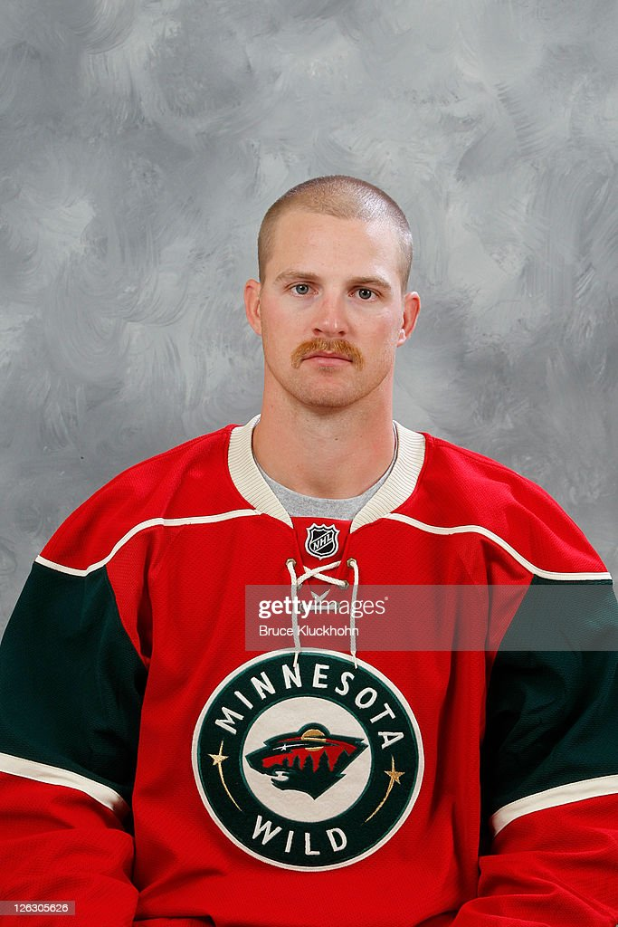Kyle Brodziak of the Minnesota Wild poses for his official headshot for the 20112012 NHL season on September 16 2011 at Tria medical offices in...