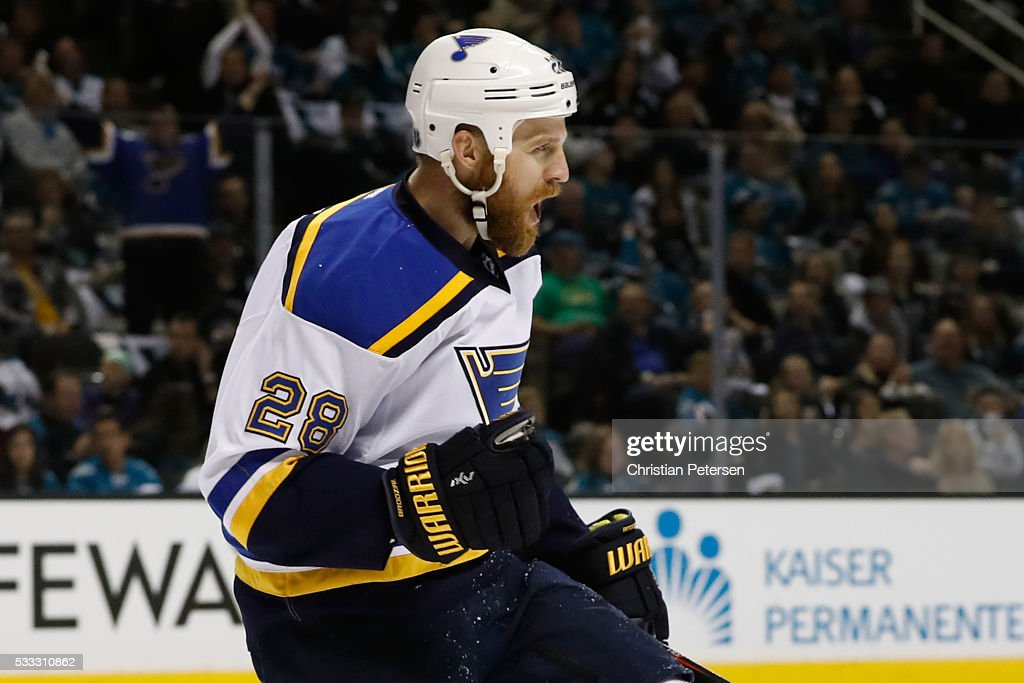 Kyle Brodziak of the St Louis Blues celebrates after his first goal in game four of the Western Conference Finals against the San Jose Sharks during...