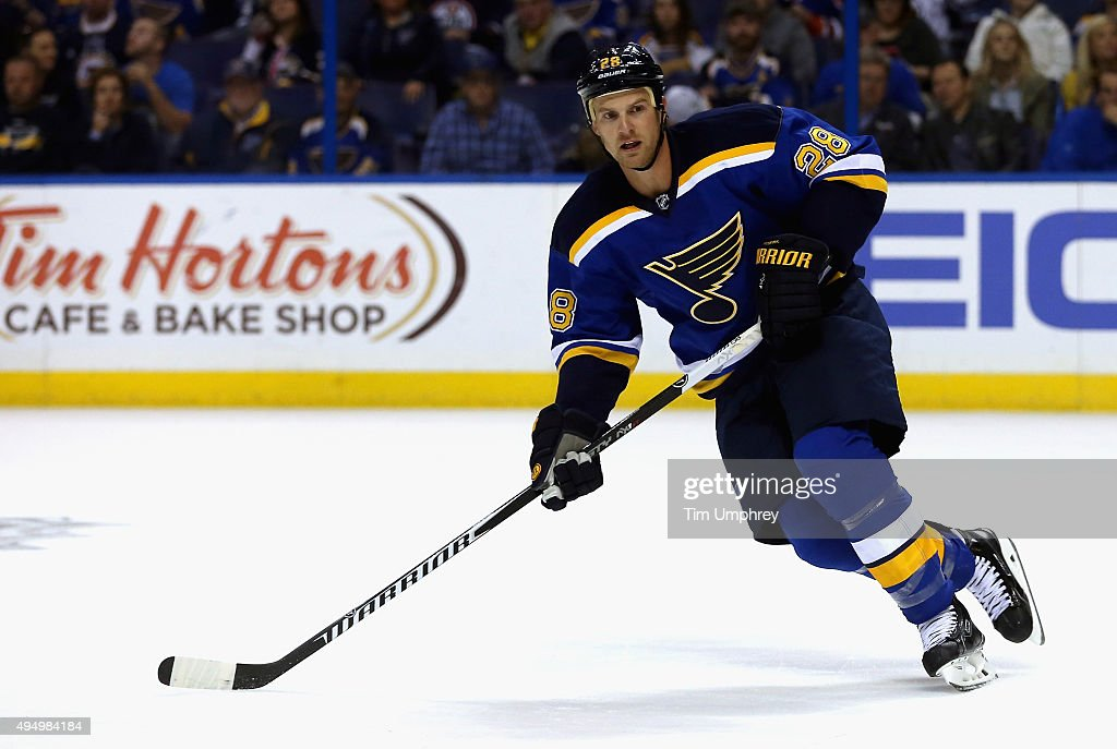 Kyle Brodziak of the St Louis Blues plays in the game against the Edmonton Oilers at the Scottrade Center on October 7 2015 in St Louis Missouri