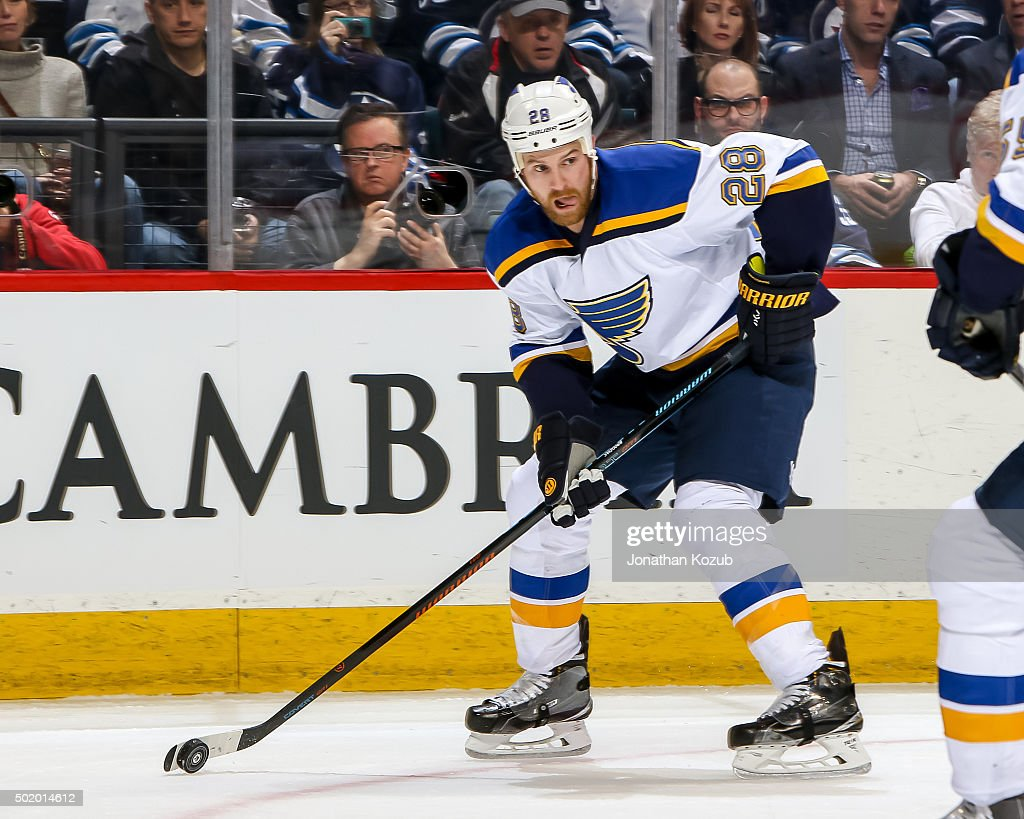 Kyle Brodziak of the St Louis Blues plays the puck down the ice during second period action against the Winnipeg Jets at the MTS Centre on December...