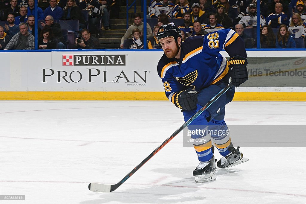 Kyle Brodziak of the St Louis Blues skates against the Nashville Predators on December 29 2015 at Scottrade Center in St Louis Missouri
